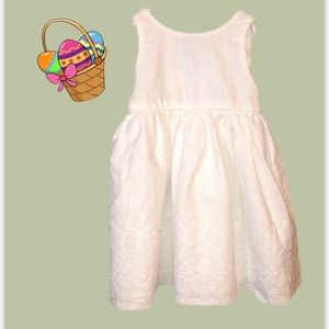 White Eyelet Baby Girls Lined Wrap dress 6-12 mths
